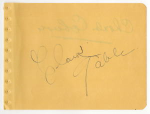 Clark Gable & Charles Coburn signed autographed album page! Authentic! 886