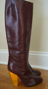 MARC BY MARC JACOBS Burgundy Leather Knee Boots with Colored Lucite Heel Unsized