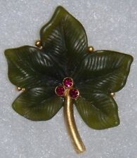 Joan Rivers VERY NICE Signed Gold Tone Pin/Brooch Holly Leaf w 3 Red Crystals