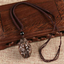 Vintage Unisex Lucky Wood Carving Rope Pendant Adjustable Long Necklace Handmade God of Wealth