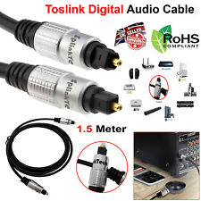 1.5M Pure Fiber Optical Cable TOSLink SPDIF Digital Audio Surround Sound Lead UK