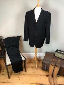 "46 "" Chest x 38"" Waist  Daniel Hechter Paris black & grey pinstripe suit*"