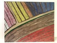"""Tulip Fields"" Outsider Wall Art 2020 by J.Leigh Acrylic 16x20"" USA"