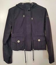 Abercrombie & Fitch Womens Small Nylon Navy Blue Hooded Rain Jacket EUC