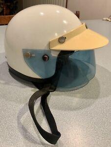 VINTAGE 1960's MOTORCYCLE HELMET BUCO BELL WHITE W/BLUE SHIELD & VISOR MED