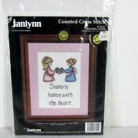 """JANLYNN 133-01 """"SISTERS LISTEN WITH THE HEART"""" COUNTED CROSS STITCH KIT USA 1992"""