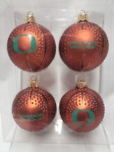 Oregon Ducks Basketball Christmas Ornaments Set of 4 NEW