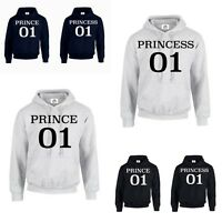 PRINCE PRINCESS 01 KING QUEEN CROWN HOODIE JUMPER MR MRS Couple Matching (HOOD)