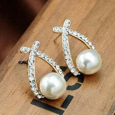 Women Elegant Gold Plated Crystal Rhinestone White Pearl Cross Stud Earrings