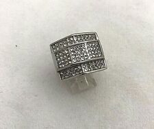 Stainless Steel  CZ Pave' Top Rectangular Ring ~ Size 8 1/4