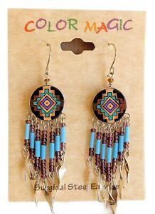 Native American Beaded Earrings - Surgical Steel Handmade Beaded Earrings