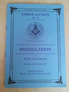 Menu - Masonic LODGE of Unity Installation Menu No 71 25th Oct 2007