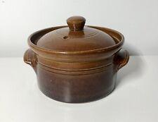 VINTAGE BROWN MINI HOTPOT STONEWARE - lidded crockery retro kitchenalia