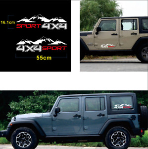 2pc Sport 4x4 Mountains Graphic Vinyl Decals Pickup Off-Road Decoration Stickers