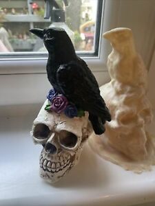 Raven Crow Skull Head With Rose Flowers Rubber Latex Mould mold Gothic Garden
