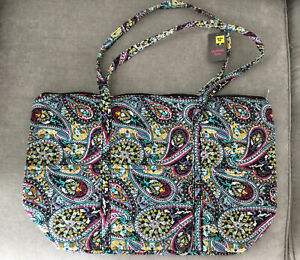 """Old East Main Co. Quilted Zippered Tote Bag W/Handles & Outside Pockets 19""""x12"""""""