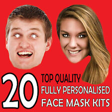 50 x Personalised Photo Face Masks Kits Birthday Party Fancy Dress Stag Hen