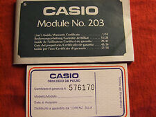 VINTAGE CASIO MODULE NOS.203 USER'S GUIDE/WARRANTY CERTIFICATE