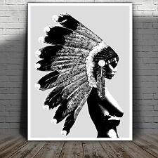 """Native Indian Girl War Bonnet Abstract Street Art Canvas Poster Print 36X24"""" BW"""
