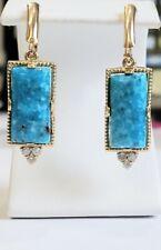 Genuine Turquoise Diamond .18tcw 14k yellow gold dangle Lever back Earrings NWOT