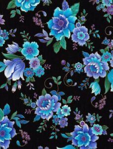 Regency By Chong A Hwang Blue and Purple Flower Quilt Fabric by the HALF Yard