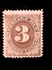 U S Stamps Scott J3 three cent postage due mint cv 280.00