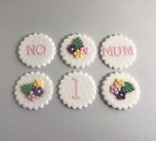 12 Edible Sugarpaste MUM Cupcake / Cake Toppers BIRTHDAY mothers day