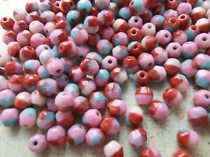 Czech fire polished small glass beads multi colour 4 mm pack of 100