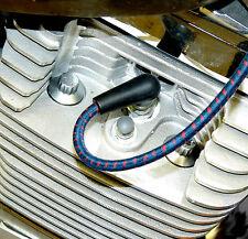 Vieja Escuela Vintage Trenzado Paño Blue / Rosa Cable de Bujía 7mm Kit Harley