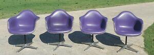 PURPLE EAMES HERMAN MILLER Vintage Fiberglass Arm Chairs Vinyl Naugahyde MCM