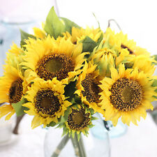 Yellow Artificial Silk Sunflower Flower Bouquet for Wedding Party Home Decor