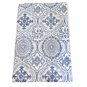 Vinyl Tablecloth Flannel Backed Assorted Sizes Blue White Pattern Picnic Patio