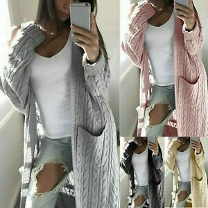 Womens Chunky Knit Sweater Open Front Pocket Coat Long Cardigan Coat Tops Jacket