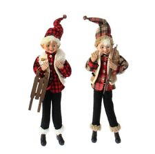 "RAZ CHRISTMAS CABIN ELF 16"" POSABLE HOLIDAY DECORATIONS RAZ (SET OF 2) 3602229"