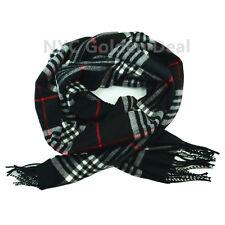 Men's 100% CASHMERE Scarf BLACK Checked Plaid Design Soft  MADE IN SCOTLAND