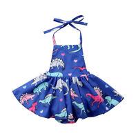 US Newborn Kids Baby Girls Blue Romper Party Dinosaur Tutu Dress Clothes Outfit