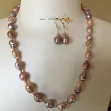 Natural Multi-Purple Kasumi Freshwater Baroque pearl necklace 46cm+Earrings AA+