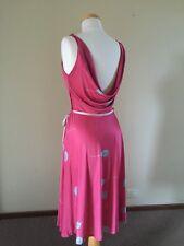 FABULOUS Vintage 80s MAGENTA Pink TULIP Print COWL Plunge BACK Disco MIDI Dress