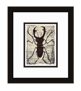 """Exciting 1967 Bernard Buffet Color Lithograph """"The Funky Stag Beetle"""" Framed COA"""
