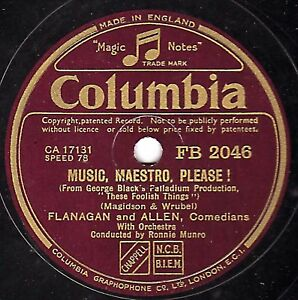1938 FLANAGAN & ALLEN 78 MUSIC MAESTRO PLEASE / HOW DO YOU DO MR RIGHT FB2046 E-