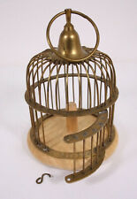 Brass Metal Wood 9� Hanging Decorative Vtg Bird Cage