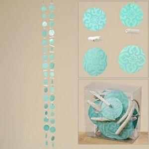 1x Boltze Capiz-Girlande Tiles L180cm Materialmix blau Maritim türkis Windspiel