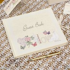 New wedding with love vintage shabby chic floral love birds guest book