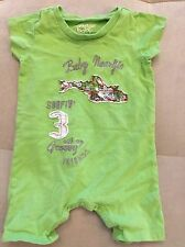 Baby Boy Naartjie Outfit Shortall Size 0-3 Month Green With Fish Surfing