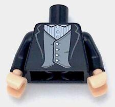 Lego New Black Torso Jacket White Shirt with Pinstripes Light Bluish Gray Vest