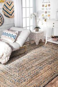 Natural Braided Denim Jute Area Rug Handmade Woven Rectangle Floor Rug 2X3 Feet