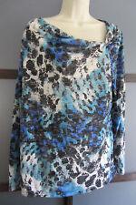 Tunic Top XXL Boho Chic Abstract Print Asymmetrical Neckline Knit Blues White