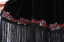 Beautiful 1920s Antique/Vintage Floral Beaded Black Velvet Fringed Cape or Cloak