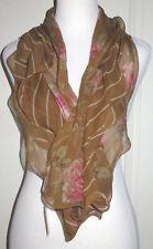 "Ralph Lauren 100% Silk Ruffle Floral Brown Pink 55"" Scarf NEW"