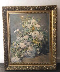 "Elegant ""Spring Bouquet"" Renoir Print in Ornate Baroque Gold Gilt Frame"